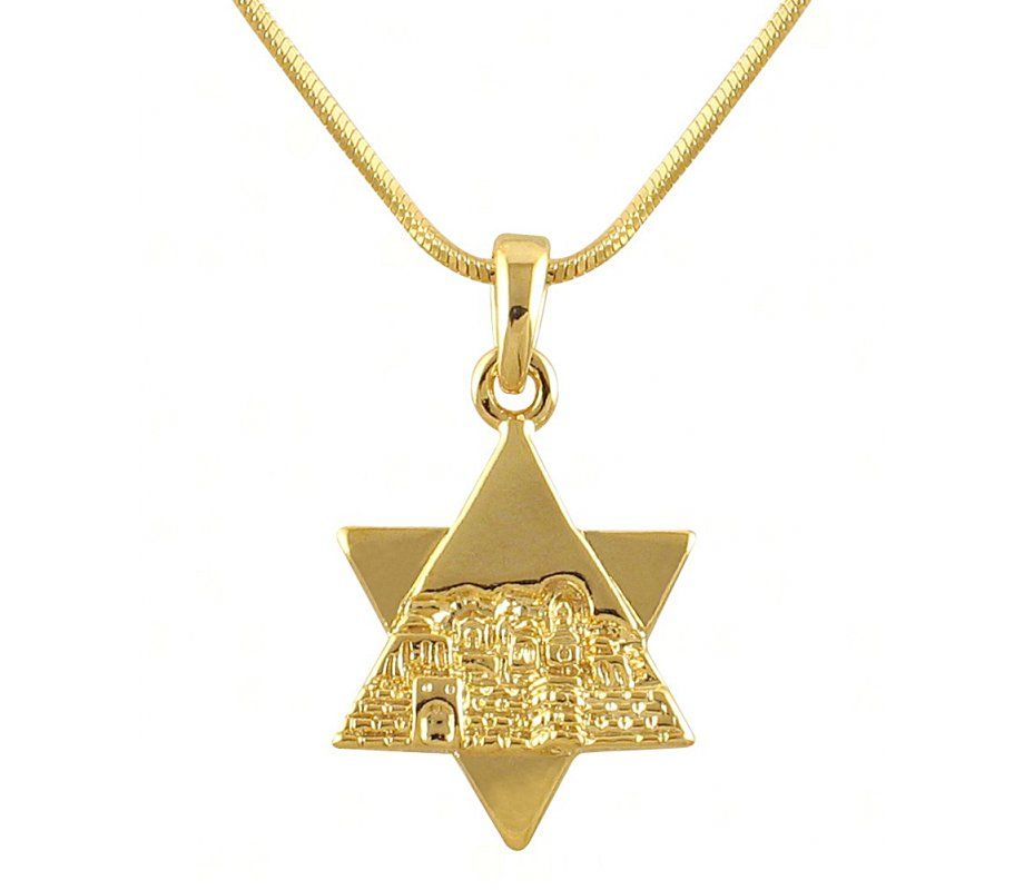 Rhodium Gold-tone Star of David Jerusalem Necklace | aJudaica.com