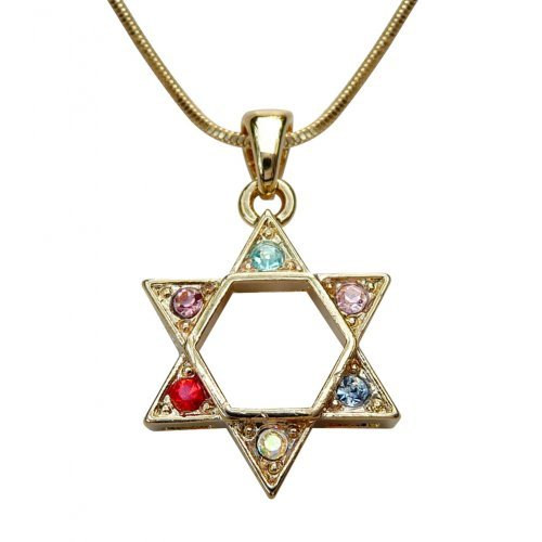 Rhodium Pendant Necklace, Gold Star of David with Colored Stones