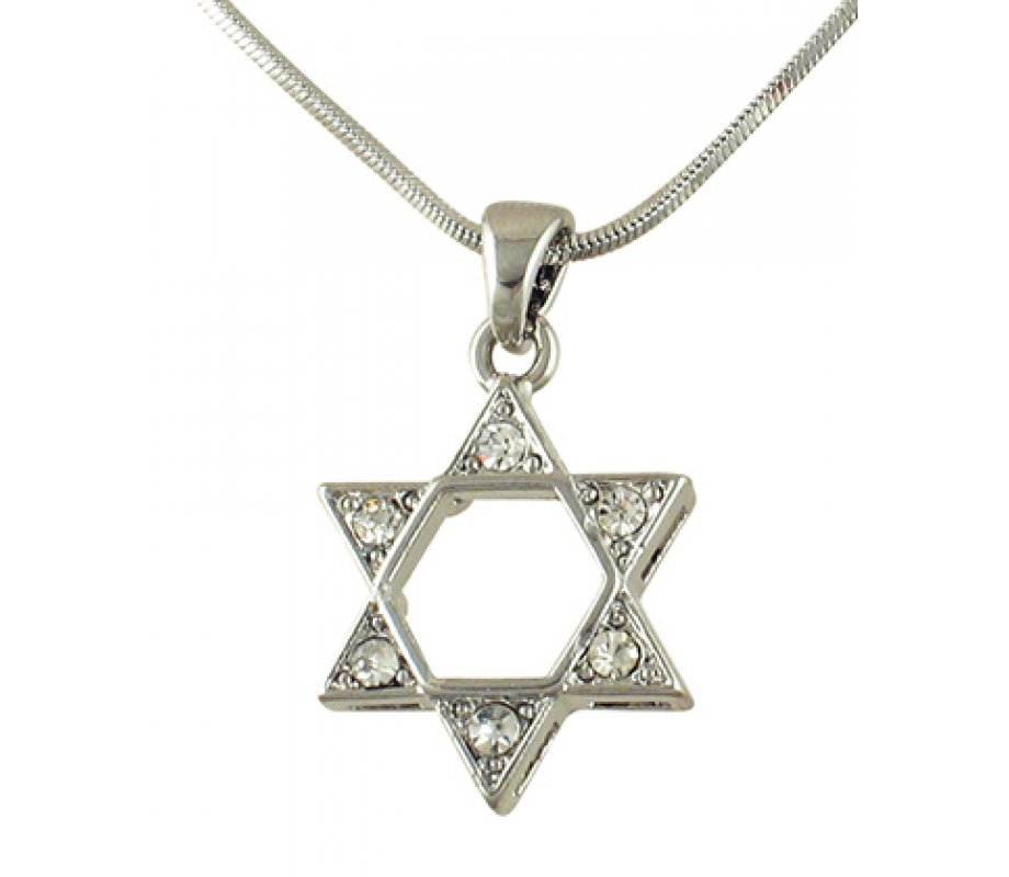 Rhodium Star of David Pendant Necklace with stones ...