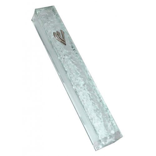 Rippled Glass Effect Mezuzah Cover with Silver Shin