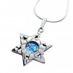 Roman Glass 925 Sterling Silver Necklace Textured Star of David