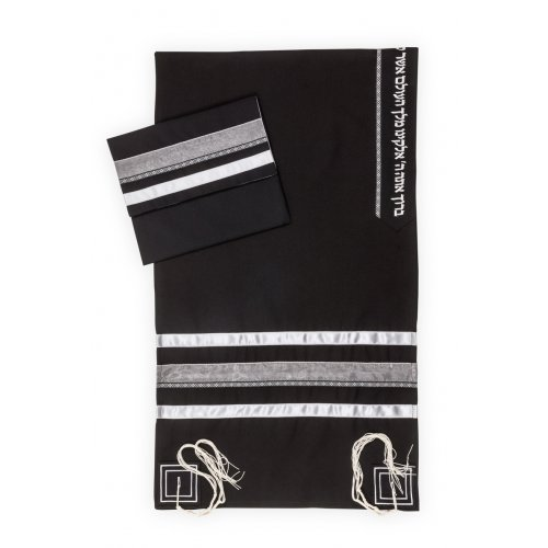 Ronit Gur Black Tallit Set With Gray Stripes