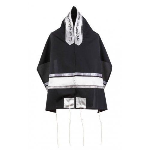 Ronit Gur Black Tallit Set With Silver and White Stripes