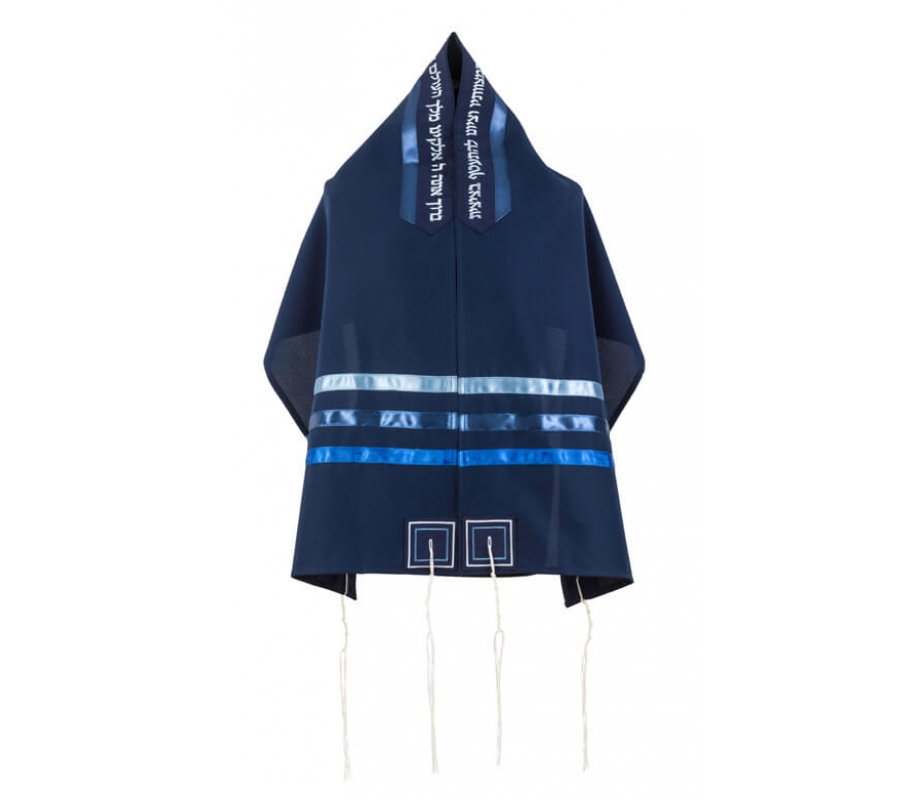 Ronit Gur Dark Blue Tallit Prayer Shawl with Stripes and Blessing with Bag and Kippah