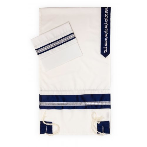 Ronit Gur Tallit Set with Blue and Silver Stripes