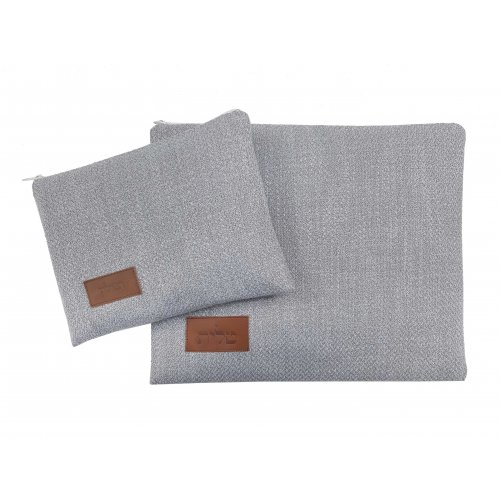 Ronit Gur Tallit and Tefillin Bag Set, Woven Fabric - Light Gray