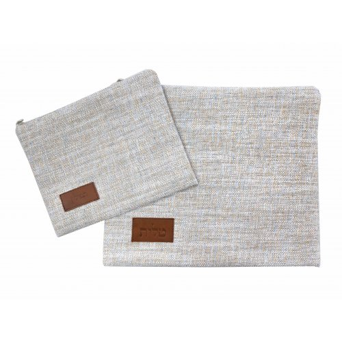 Ronit Gur Tallit and Tefillin Bag Set, Woven Fabric - Off White