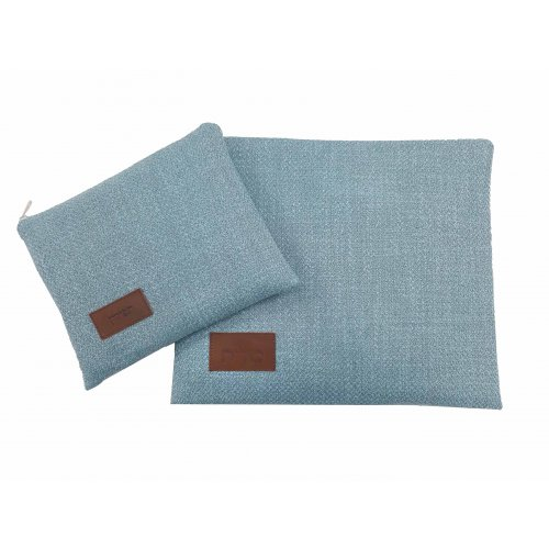 Ronit Gur Tallit and Tefillin Bags Set, Linen Like Blue Design