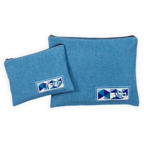 Ronit Gur Tallit and Tefillin Bags Set, Linen Like Blue Vitrage Design