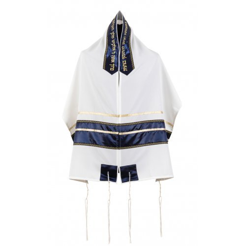 Ronit Gur White Tallit Set with Blue-Gold Stripes