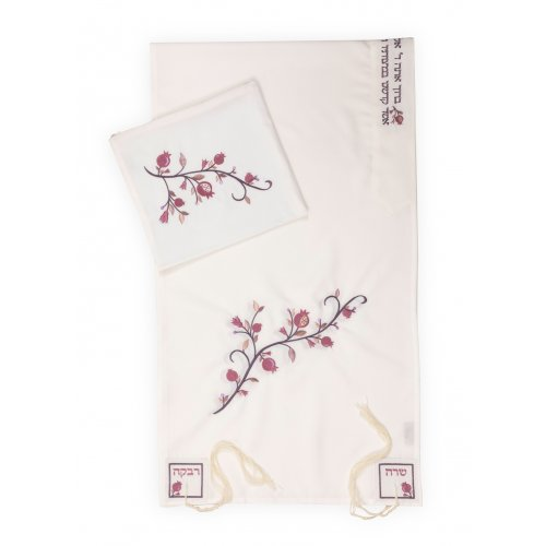 Ronit Gur White with Pink Pomegranate Matriarchs Tallit Set with Bag and Kippah