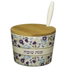 Rosh Hashanah Bamboo Honey Dish with Blue Pomegranate Design - Lid and Spoon