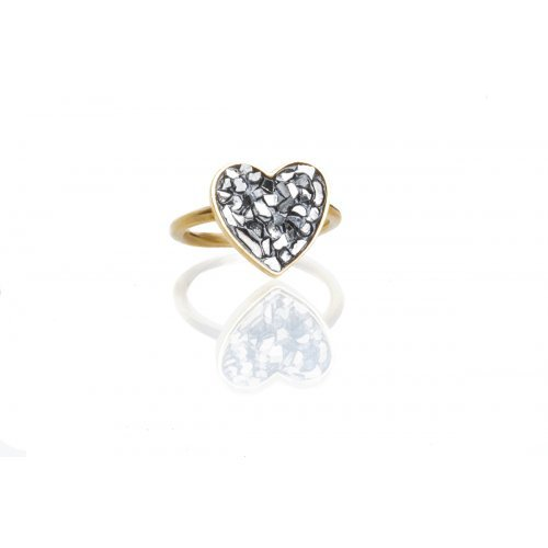 Rough Diamond Heart Ring by Chaya Elfasi