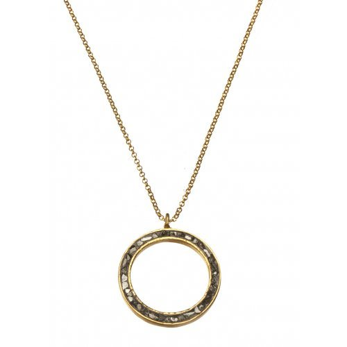 Rough Diamond Open Circle Necklace by Chaya Elfasi