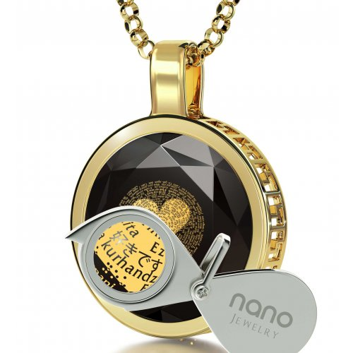Round Onyx I Love You Pendant In Gold Frame - In 120 Languages