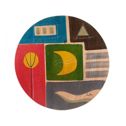Round Placemat - Yellow Moon by Kakadu Art