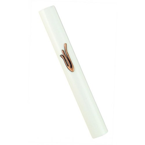Round white Wood Mezuzah with bronze