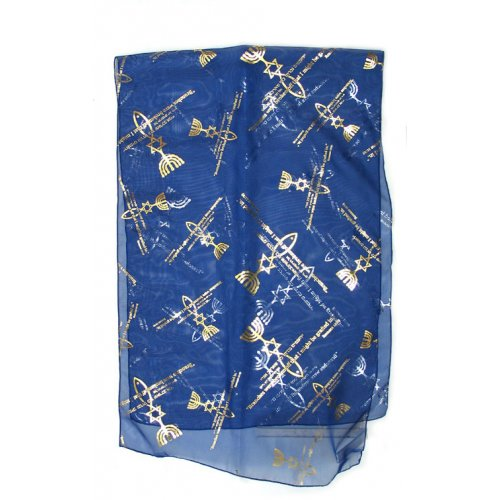 Royal Blue Woman's Head Covering Scarf - Fish design
