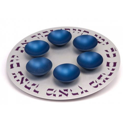 Seder Plate by Agayof with Blue Bowls