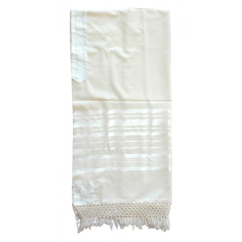 Sephardic Tallit Pure Wool Prayer Shawl with Thick Handmade Tzitzit and Net Fringe