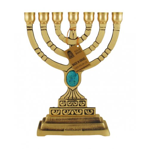 Seven Branch Menorah with Blue Stone