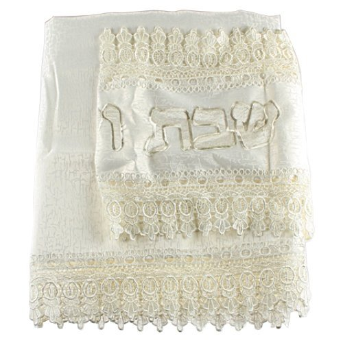 Shabbat and Yom Tov Elegant Cream Tablecloth with Separate Hebrew Runner