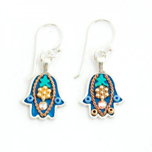 Shades of Blue Hamsa Earrings by Ester Shahaf