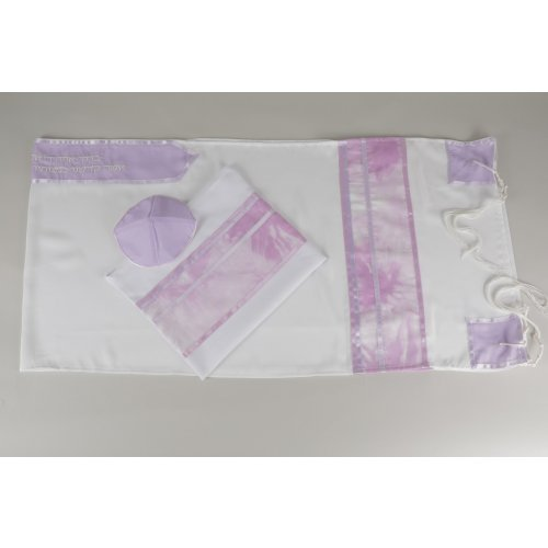 Shades of Lavender and Sheer White Tallit Set by Galilee Silks