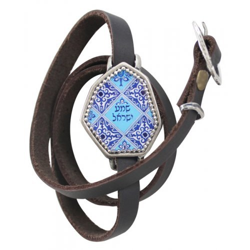 Shema Kabbalah Leather Multiwrap Bracelet by Iris