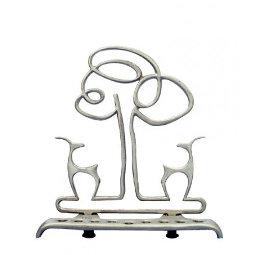 Shraga Landesman Aluminum Hanukkah Menorah - Gazelles and Tree