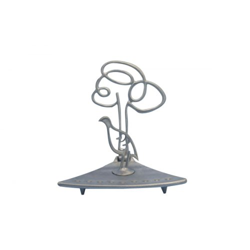 Shraga Landesman Aluminum Triangle Base Hanukkah Menorah - Bird and Tree