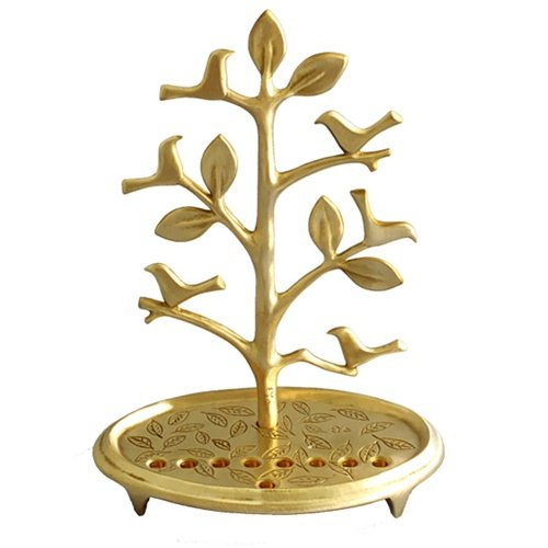 Shraga Landesman Circular Base Hanukkah Menorah, Tree with Birds - Brass