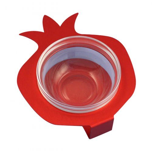 Shraga Landesman Raised Pomegranate Charoset Dish Red - Aluminum and Glass