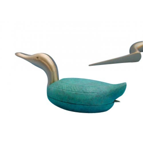 Shraga Landesman Turquoise Duck Brass Patina Paper Weight and Letter Opener