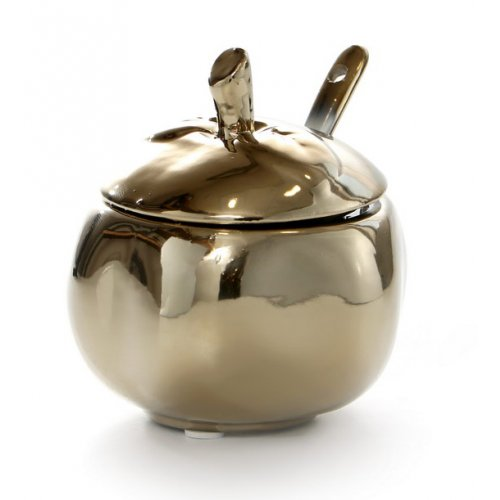 Silver Ceramic Apple Honey Dish with Gold Color Spoon