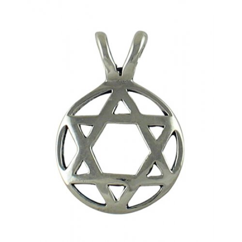 Silver Circle Star of David Pendant