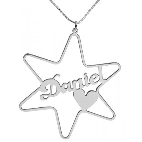 Silver Cursive English Name Necklace - Star of David