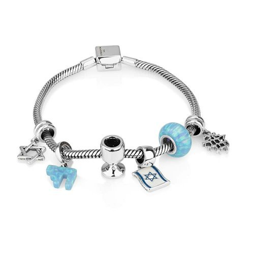 Silver Judaica Charm Bracelet with 6 Charms in Blue