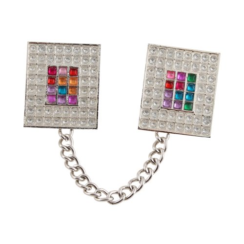 Silver Nickel Tallit Clips with Chain - Colored Breastplate Image