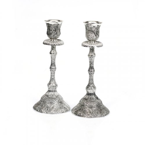 Silver Plated Candlesticks in Filigree Style