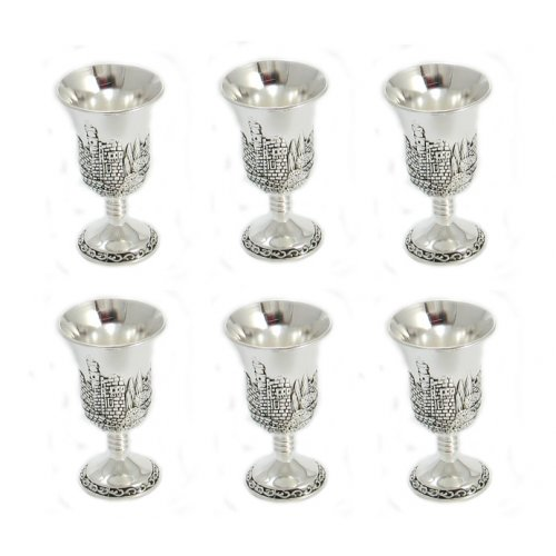 Silver Plated Six Small Kiddush Cups Set - Citadel of David Design