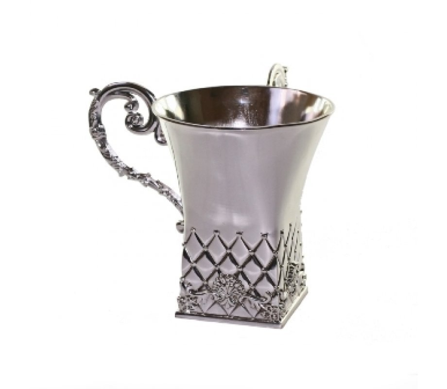 Silver Plated Square Netilat Yadayim Wash Cup