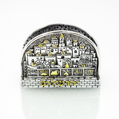 Silver Plated with Gold Accents Business Card Holder - Jerusalem, Twelve Tribes