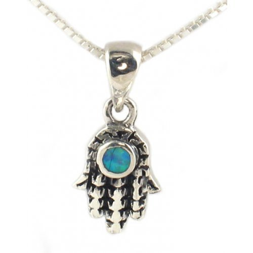 Silver and Opal Necklace - Hamsa