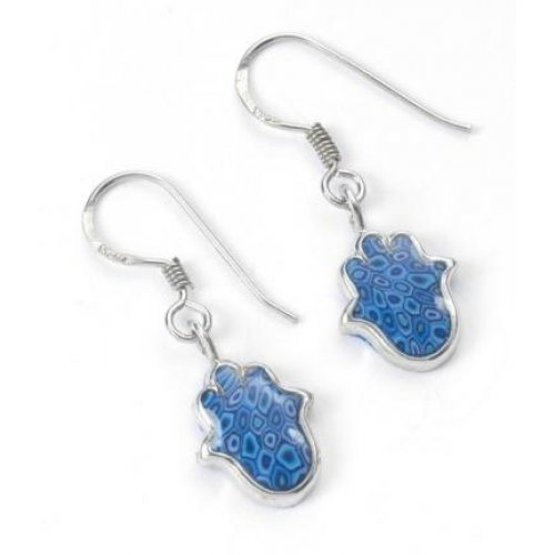 Small Blue Earrings: Small Blue Hamsa Earrings
