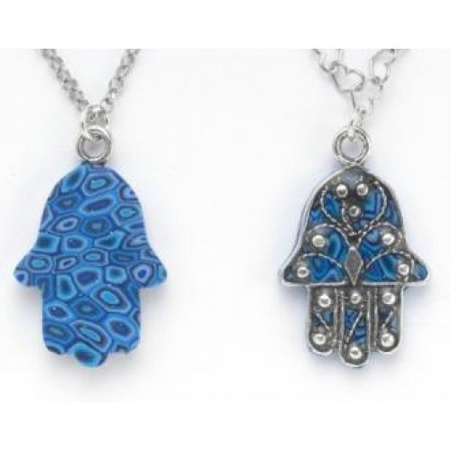 Small Blue Oriental Hamsa Necklace