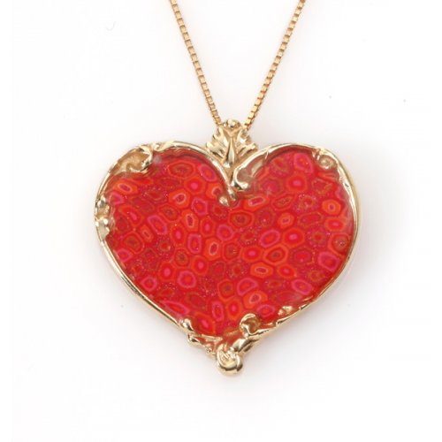Small Delicate Coral Heart Necklace