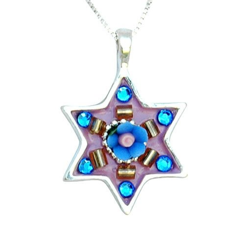 Small Star of David with blue stones necklace by Ester Shahaf