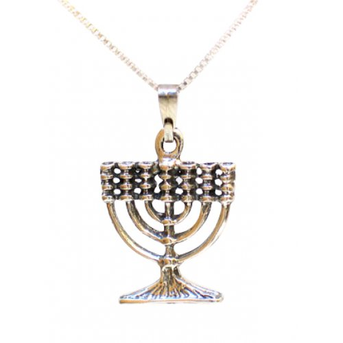Small Sterling Silver 7 Branch Menorah Pendant