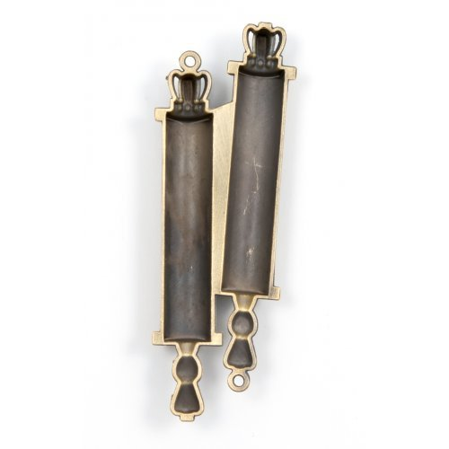 Small Torah Scroll Mezuzah Case - Black and Gold